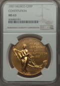 Mexico, Mexico: Republic gold 50 Pesos 1957 MS63 NGC,...