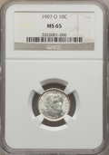 Barber Dimes: , 1907-O 10C MS65 NGC. NGC Census: (17/16). PCGS Population (18/14).Mintage: 5,058,000. Numismedia Wsl. Price for problem fr...