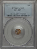 California Fractional Gold , 1855 25C Liberty Round 25 Cents, BG-227, R.6, MS63 PCGS. PCGSPopulation (24/7). NGC Census: (2/3). ...