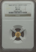 California Fractional Gold , 1868 25C Liberty Octagonal 25 Cents, BG-710, R.6, MS64 NGC. NGCCensus: (1/6). PCGS Population (7/12). ...