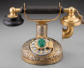 Silver Holloware, American:Other , A Bensabott Gilt Silver, Malachite and Brass Rotary Phone, Chicago, Illinois, circa 1925. Marks: BENNSABOTT STERLING. 6-...