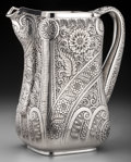 Silver Holloware, American:Water Pitchers, A Tiffany & Co. Aesthetic Movement Chased Silver Water Pitcher,New York, New York, circa 1880. Marks: TIFFANY & CO, 5526...