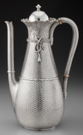 Silver Holloware, American:Coffee Pots, A Whiting Mfg. Co. Silver Coffee Pot with Trompe L'Oeil Design, NewYork, New York, circa 1880. Marks: (W-griffin), STERLI...