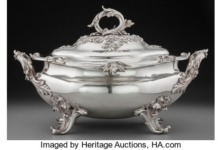 A William Ker Reid William IV Silver Covered Soup Tureen, London, England, circa 1835 Marks: (lion passant), (leopard's hea...