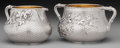 Silver Holloware, American:Creamers and Sugars, A Whiting Mfg. Co. Japanesque Partial Gilt Silver Sugar and Creamerwith Trompe L'Oeil Design, New York, New York, circa 188... (Total:2 )