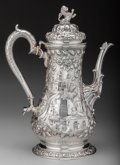 Silver Holloware, American:Coffee Pots, An S. Kirk & Son Coin Silver Landscape Coffee Pot, Baltimore,Maryland, circa 1865. Marks: S. KIRK & SON, 11OZ. 12-3/4i...
