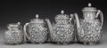 Silver Holloware, American:Tea Sets, A Four Piece Gorham Silver Floral Repoussé Tea and Coffee Service,Providence, Rhode Island, circa 1880. Marks: (lion-anchor...(Total: 4 Items)