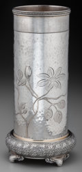 Silver Holloware, American:Vases, A Tiffany & Co. Japanesque Silver Brush Holder-Form Vase, NewYork, New York, circa 1873-1891. Marks: TIFFANY & CO, 2995M...