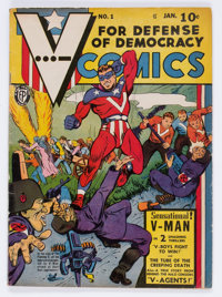 V-Comics #1 (Fox Features Syndicate, 1942) Condition: VG