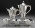 Silver Holloware, American:Tea Sets, A Five Piece Frank W. Smith & Co. Woodlily PatternSilver Tea and Coffee Service, Gardner, Massachusetts, design...(Total: 5 )