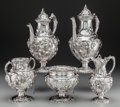 Silver & Vertu:Hollowware, A Five-Piece John Chandler Moore Coin Silver Coffee Service with Associated Coffee Pot, New York, New York, circa 1840. Mark... (Total: 5 Items)