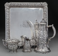 Silver Holloware, American:Tea Sets, A Four Piece Whiting Mfg. Co. Silver Floral Repoussé CoffeeService, New York, New York, circa 1880. Marks: (W-griffin),S... (Total: 4 )