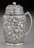 Silver Holloware, American:Open Salts, A Gorham Silver Floral Repoussé Mustard Pot, Providence, RhodeIsland, circa 1880. Marks: (lion-anchor-G), STERLING,1715,...