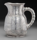 Silver Holloware, American:Pitchers, A Dominick & Haff Japanesque Acid-Etched Silver Water Pitcher,New York, New York, circa 1887. Marks: (rectangle 925-sphere-...