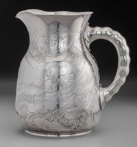 A Dominick & Haff Japanesque Acid-Etched Silver Water Pitcher, New York, New York, circa 1887 Marks: (rectangle 92...