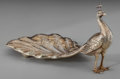 Silver Holloware, American:Desk Accessories, A Gilt Silver Peacock Spoon Dish, Attributed to Gorham, circa 1905.Marks: STERLING, PATENT, 2. 3-1/4 inches high x 6-1/...