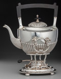 Silver Holloware, American:Hot Water Kettles , A Gorham George III-Style Silver Hot Water Kettle on Stand,Providence, Rhode Island, 20th century. Marks: (lion-anchor-G), ...