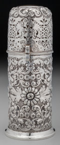 Silver Holloware, British:Holloware, A George Nathan & Ridley Hayes Partial Gilt Silver FloralRepoussé Muffineer, Birmingham, England, circa 1887. Marks: (lion...