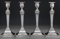 A Set of Four Robert Jones & John Scofield George III Weighted Silver Candlesticks, London, England, circa 1776 Ma...