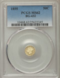 California Fractional Gold , 1855 50C Liberty Round 50 Cents, BG-432, R.5, MS62 PCGS. PCGSPopulation (10/16). NGC Census: (2/5). ...