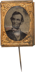 Political:Ferrotypes / Photo Badges (pre-1896), Abraham Lincoln: Gem Ferrotype Stickpin Badge....