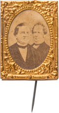Political:Ferrotypes / Photo Badges (pre-1896), Tilden & Hendricks: Gem Cardboard Jugate....