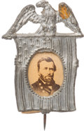 Political:Ferrotypes / Photo Badges (pre-1896), Ulysses S. Grant: Eagle & Flag Portrait Badge....