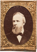 Political:Ferrotypes / Photo Badges (pre-1896), Rutherford B. Hayes: Gem Albumen Stickpin....