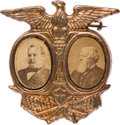 Political:Ferrotypes / Photo Badges (pre-1896), Cleveland & Thurman: Cardboard Jugate Badge....