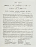 Militaria:Ephemera, 1864 Presidential Campaign Connecticut Election Broadside....