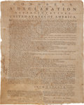 Miscellaneous:Broadside, The Declaration of Independence: Rare July 1776 Broadside Printing by Ezekiel Russell of Salem, Massachusetts-Bay, the Colony'...