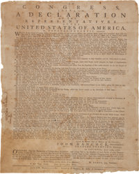 The Declaration of Independence: Rare July 1776 Broadside Printing by Ezekiel Russell of Salem, Massachusetts-Bay, the C...