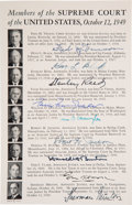 Autographs:Statesmen, [Vinson Court] Bio Sheet With Signatures of All Nine Supreme CourtJustices....