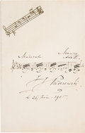 Autographs:Artists, Ignacy Jan Paderewski Autograph Musical Quote Signed....