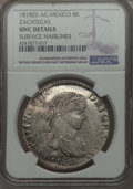 Mexico, Mexico: Zacatecas. Ferdinand VII 8 Reales 1818 Zs-AG UNC Details(Surface Hairlines) NGC,  ...