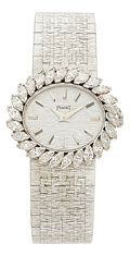 Estate Jewelry:Watches, Piaget Lady's Diamond, White Gold Watch, circa 1970. ...