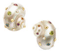 Estate Jewelry:Earrings, Multi-Stone, Cultured Pearl, Shell, Gold Earrings, Trianon. ...