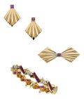 Estate Jewelry:Suites, Retro Ruby, Diamond, Gold Jewelry Suite. ... (Total: 4 Items)