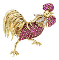 Estate Jewelry:Brooches - Pins, Ruby, Diamond, Gold Brooch, Tiffany & Co.. ...