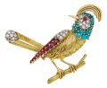 Estate Jewelry:Brooches - Pins, Diamond, Ruby, Turquoise, Gold Brooch, French. ...