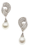 Estate Jewelry:Earrings, Diamond, Cultured Pearl, Platinum, White Gold Earrings. ... (Total:2 Pieces)