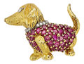 Estate Jewelry:Brooches - Pins, Ruby, Diamond, Gold Brooch, Tiffany & Co., French. ...