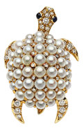 Estate Jewelry:Brooches - Pins, Diamond, Sapphire, Cultured Pearl, Gold Brooch, Tiffany & Co.. ...