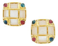 Estate Jewelry:Earrings, Tourmaline, Mother-of-Pearl, Gold Earrings. ... (Total: 2 Pieces)
