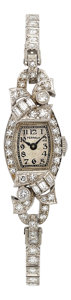 Estate Jewelry:Watches, Perraux Lady's Diamond, Platinum Watch. ...