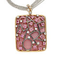 Estate Jewelry:Necklaces, Diamond, Pink Sapphire, Enamel, Gold Pendant-Necklace. ...