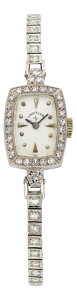 Estate Jewelry:Watches, Lady Elgin Diamond, Platinum, White Gold Watch. ...
