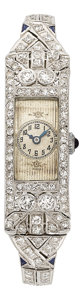 Estate Jewelry:Watches, Art Deco Swiss Lady's Diamond, Synthetic Sapphire, Platinum Watch....