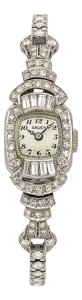 Estate Jewelry:Watches, Gruen Lady's Diamond, Platinum Watch. ...