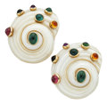 Estate Jewelry:Earrings, Multi-Stone, Shell, Gold Earrings. ... (Total: 2 Pieces)
